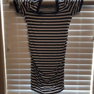 Black and white stripe maternity dress